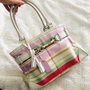 Coach Hampton Striped Canvas Leather Tote Bag